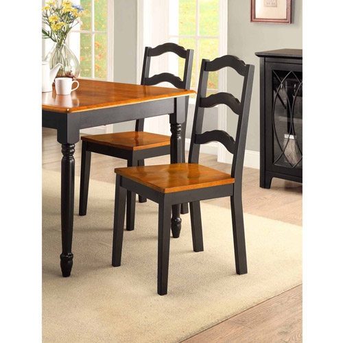 Better Homes and Gardens Autumn Lane Ladder Back Dining Chairs, Set of 2, Black by