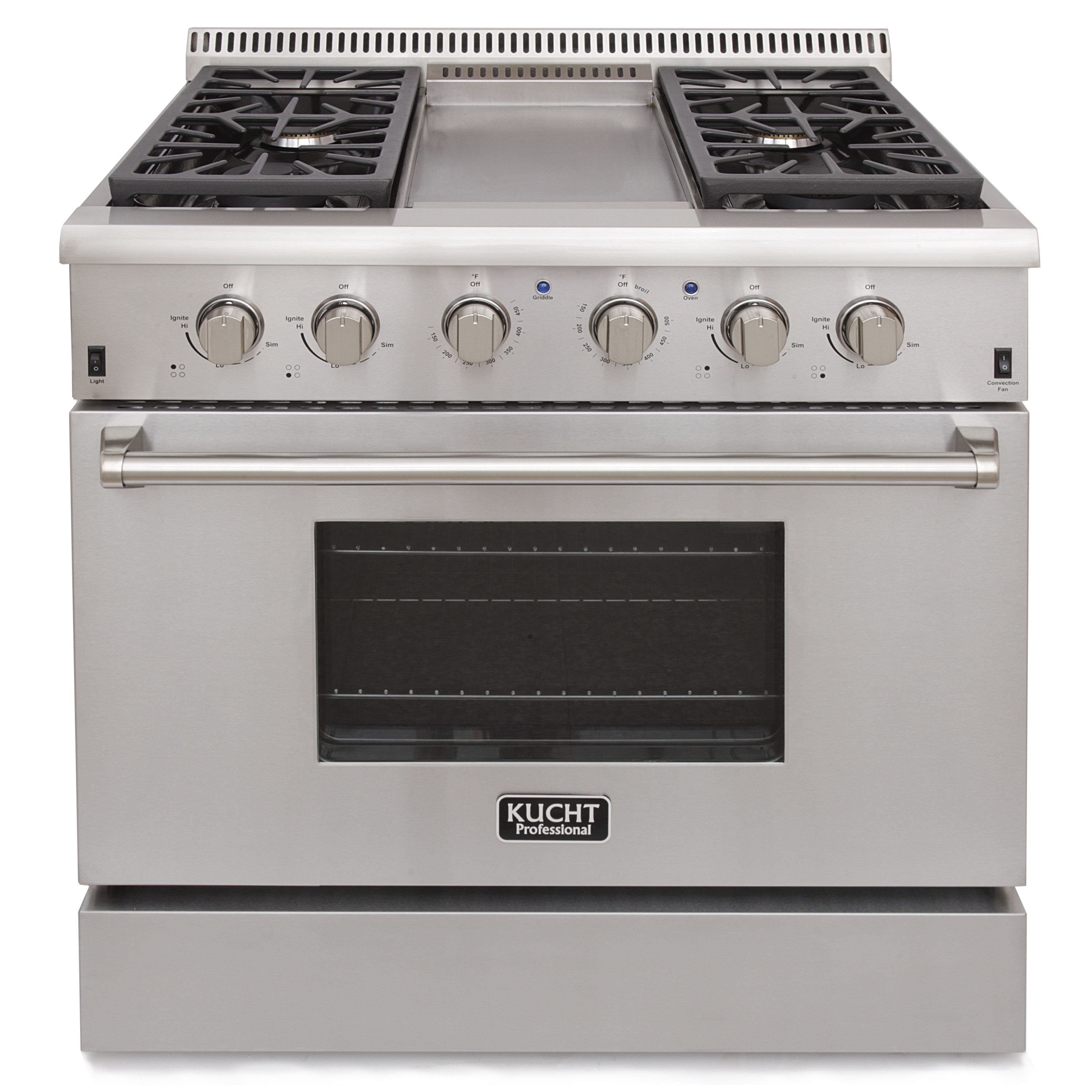 KUCHT Professional 36 in. 5.2 cu. ft. Natural Gas Range with Sealed Burners, Griddle