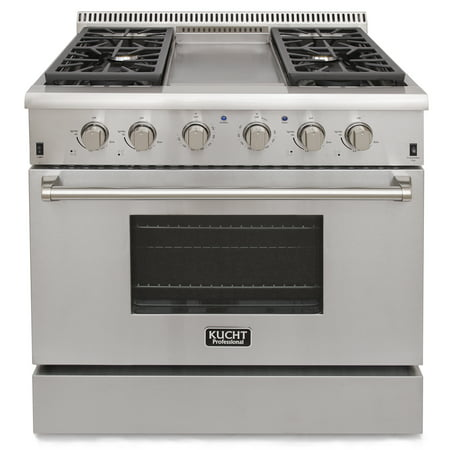 KUCHT Professional 36 in. 5.2 cu. ft. Natural Gas Range with Sealed Burners, Griddle and Convection Oven in Stainless Steel