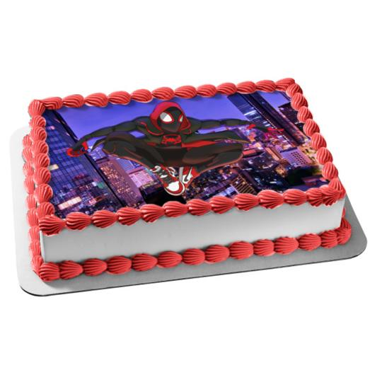 Magnificent Spider Man Miles Morales Personalized Birthday Edible Frosting Funny Birthday Cards Online Inifofree Goldxyz