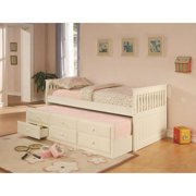 La Salle Captain's Bed with Trundle and Storage Drawers-Finish:White