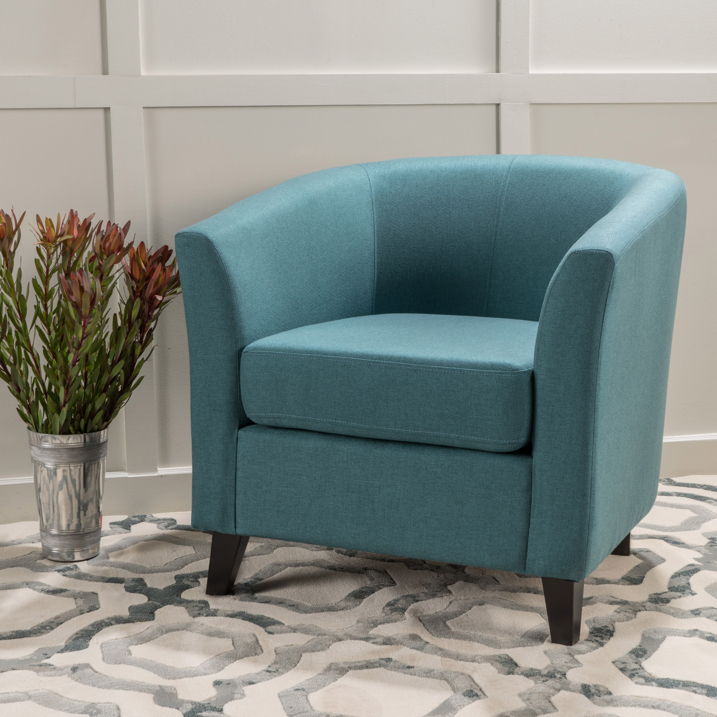 Noble House Florette Tub Design Fabric Club Chair, Dark Teal