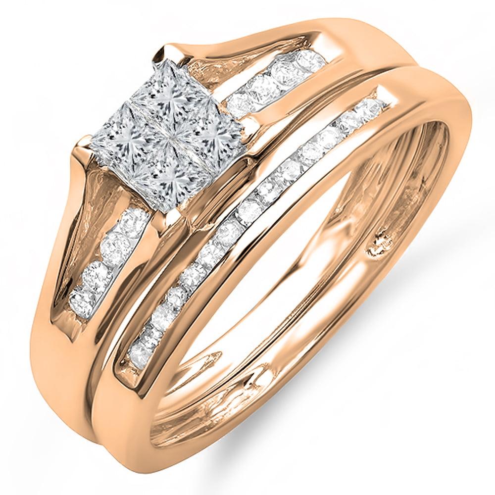 Dazzling Rock 0.50 Carat (ctw) 18K Rose Gold Round & Prin...