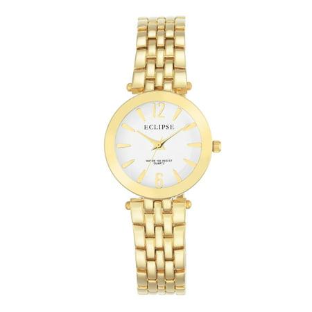 Golden Bracelet Watch (Eclipse Women's Round Casual Watch with Gold Bracelet )
