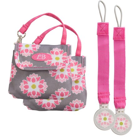 Demdaco (2 Pack) Pacifier Pouch Case LillyBit Designer Baby Bag For Mom Small Holder Travel Tote