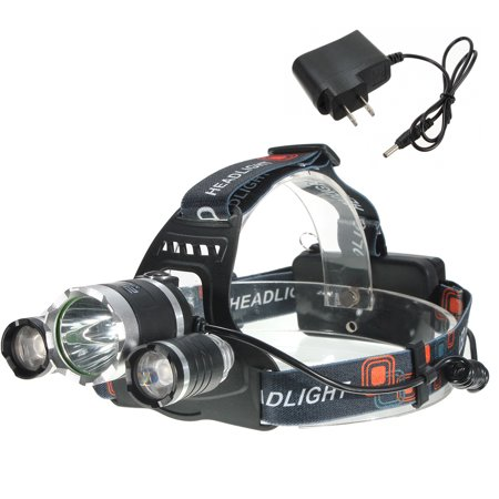 Elfeland 5000 Lumens LED Headlamp Headlight 3 x T6 LED Flashlight Torch Waterproof with US Charging Plug For Hiking Camping(Not Included Battery