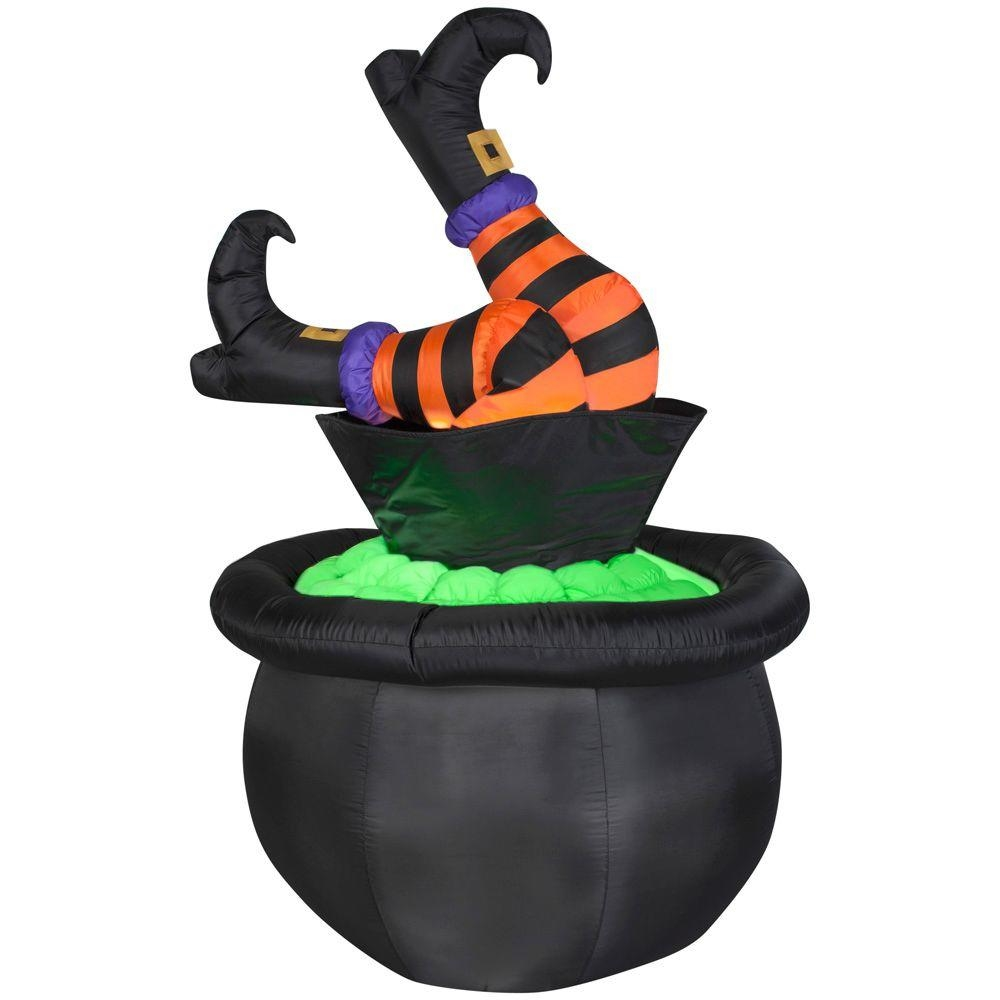 Outdoor inflatable halloween decorations - Animated Halloween Inflatable Witch Legs In Cauldron 4 5 Ft Tall Walmart Com