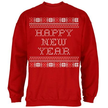 Happy New Year Red Adult Crew Neck Sweatshirt