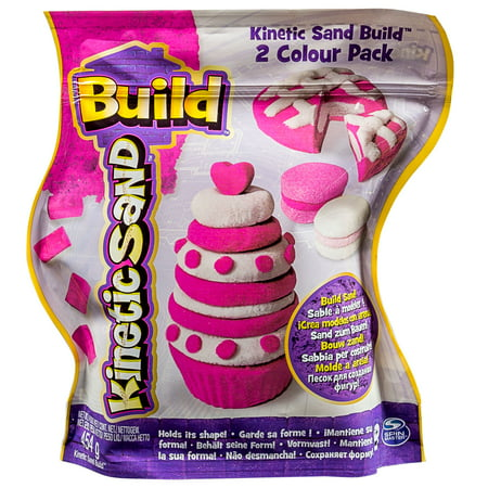 The One and Only Kinetic Sand Build, 1lb Color Pack, Pink and Shimmering White (Primary Sand)