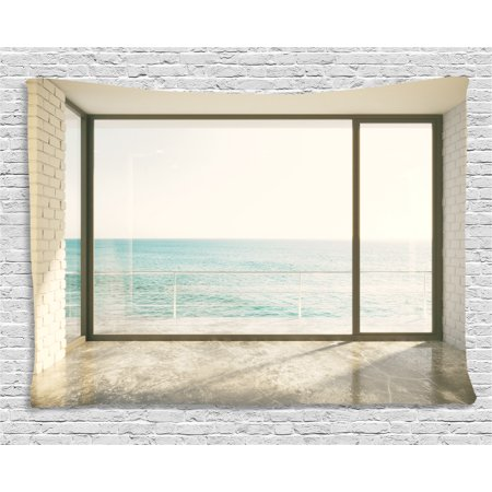 Beach Theme Decor Tapestry, Apartment Scenery with Wavy Sea Ocean Coastal Home Design, Wall Hanging for Bedroom Living Room Dorm Decor, 60W X 40L Inches, White Black and Light Blue, by Ambesonne ()