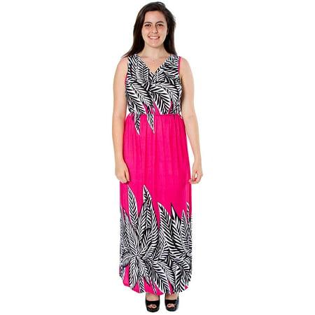 Women\'s Plus Size Ankle Length Contrast Maxi Dress