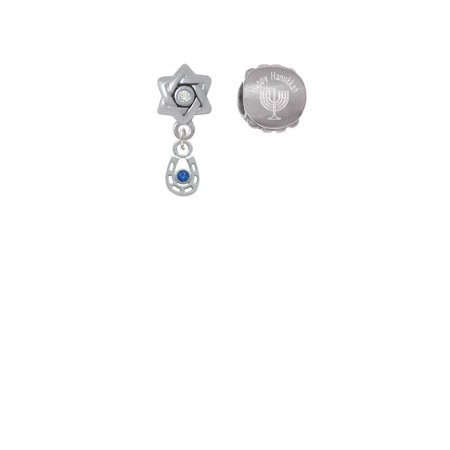 Silvertone Mini Horseshoe with Blue Crystal Happy Hanukkah Charm Beads (Set of 2) Crystal Blue Mini Set