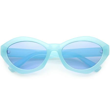 Modern Chunky Mono Colored Cat Eye Sunglasses Oval Flat Lens 56mm (Best Colored Lenses For Dark Eyes)
