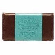 Christian Art Gifts 362833 Checkbook Cover-I Can Do Everything - Turquoise & Brown