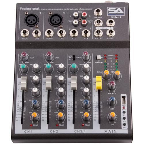 Seismic Audio  - Slider 4 - 4 Channel Mixer Console with USB Interface NEW - Slider4