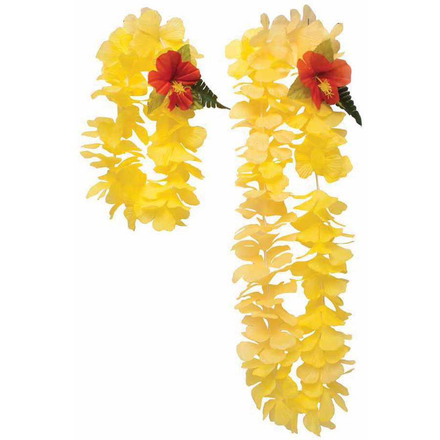 Luau Yellow Lei and Headband, 2-Pack