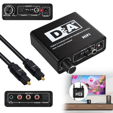 TSV DAC Digital to Analog Converter with Volume Control Bi-Directional Optical Toslink to Digital Coaxial Stereo L/R RCA 3.5mm Jack Audio Cable Adapter with for PS3 PS4 XBox HD DVD Sky (Difference Between Analog And Digital Control System)