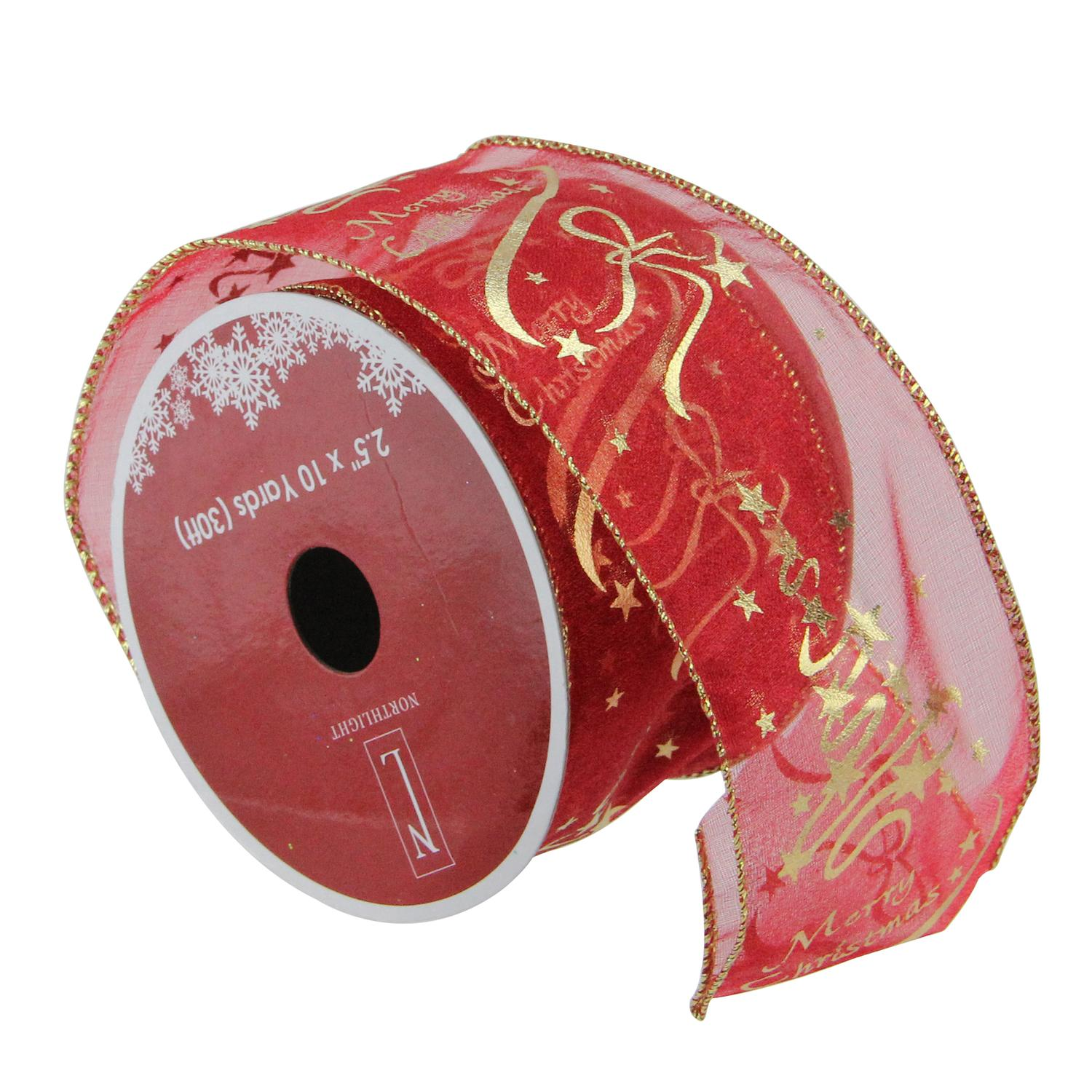 """Cranberry Red and Gold """"Merry Christmas"""" Wired Christmas Craft Ribbon 2.5"""" x 10 Yards"""
