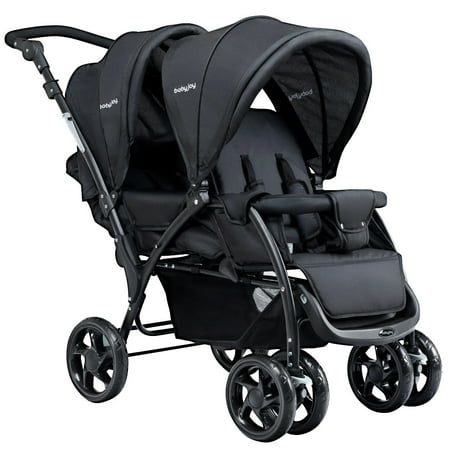 Foldable Double Baby Stroller Lightweight Front & Back Seats Pushchair (Car Seat Stroller Double)