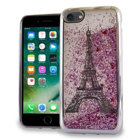 apple iphone 7 case - wydan slim hybrid liquid bling glitter sparkle quicksand waterfall shockproof tpu phone cover - eiffel