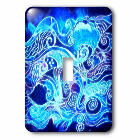 3dRose Abstract Funky Swirl Crashing Ocean Waves Digital Fractal Art, Single Toggle Switch