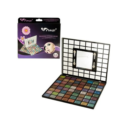Bulk Buys Shimmery Eyeshadow Set with Mirror & Applicators, Case of 4