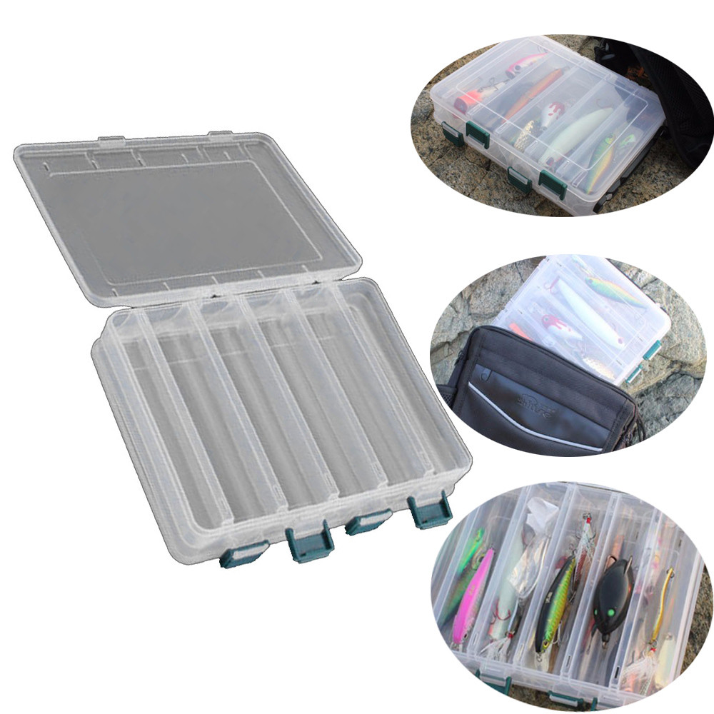 Double Sided 12 Compartment Fishing Lures Tackle Hooks Baits Storage Plastic Box
