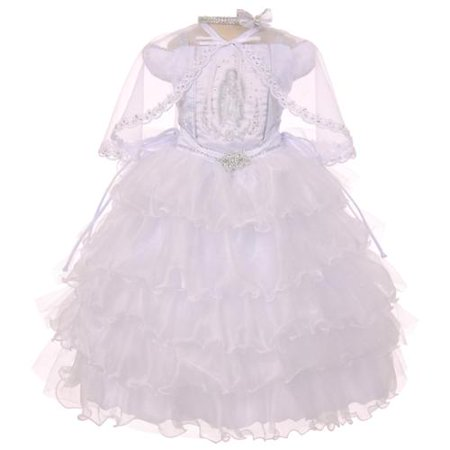 Rainkids Baby Girls White Ruffles Virgin Mary Embroidery Baptism Dress 6-12M