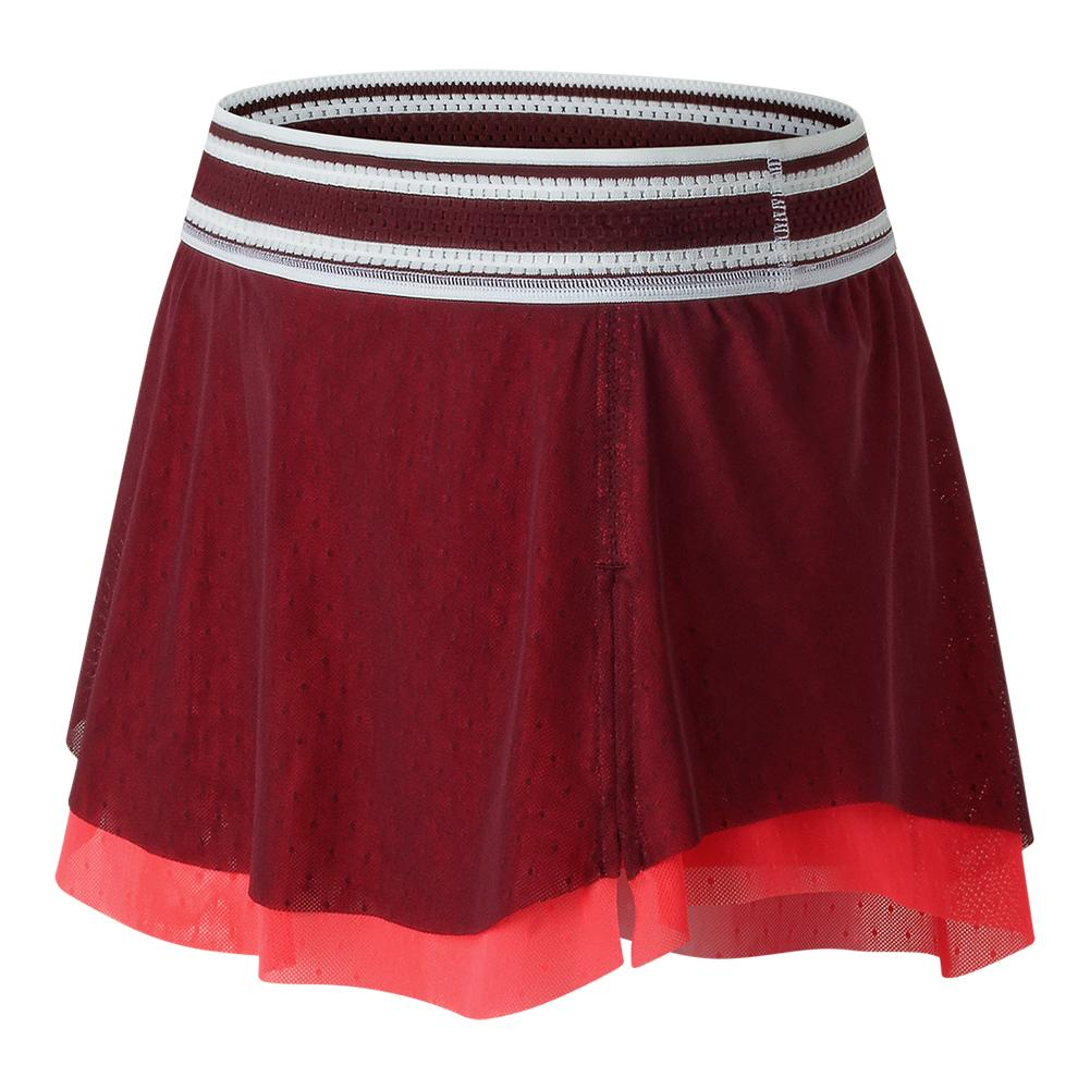 women's heath tennis skort 2 oxblood and vivid coral