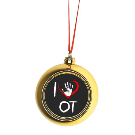I Love OT - Handprint - Gift Appreciation Bauble Christmas Ornaments Gold Bauble Tree Decoration