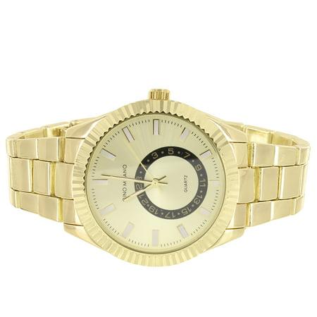 Gold Tone Men's Gold Face Fluted Bezel Metal Link Watch