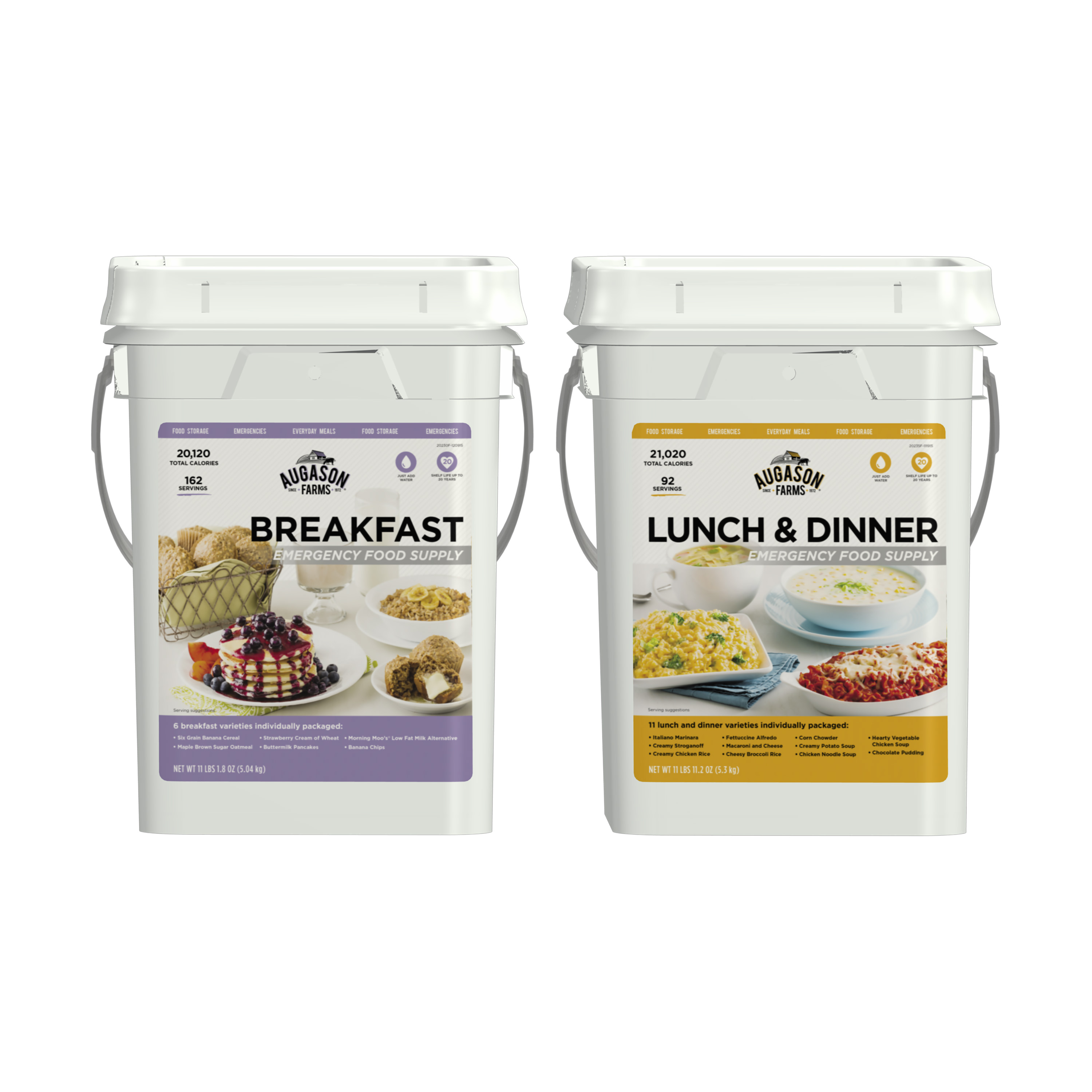 Augason Farms Breakfast Lunch & Dinner Pail Combo Survival Food 254 Servings 17 Meal Varieties