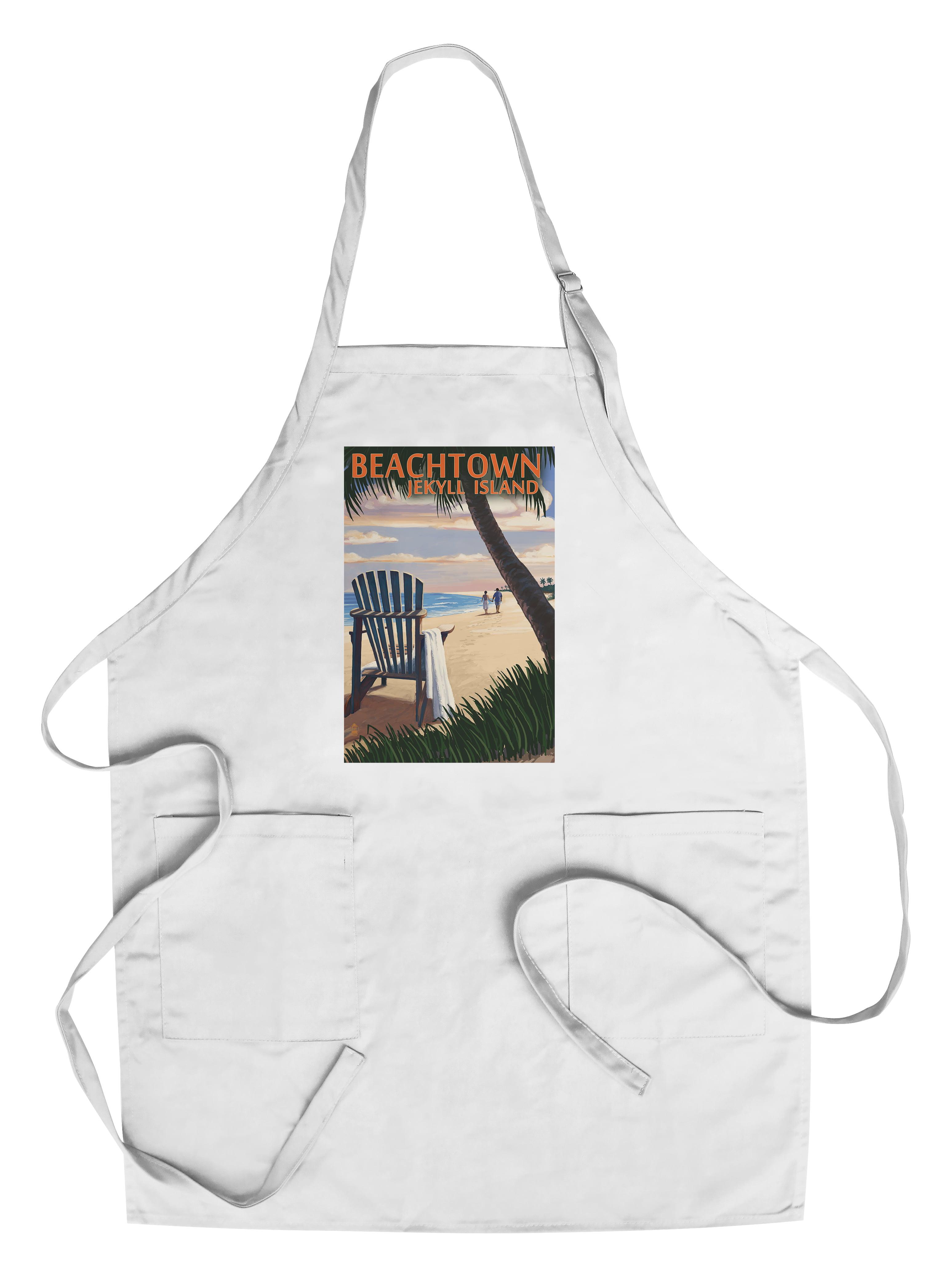 Beachtown Jekyll Island, Georgia Adirondack Chair on the Beach Lantern Press Poster (Cotton Polyester Chef's Apron) by Lantern Press
