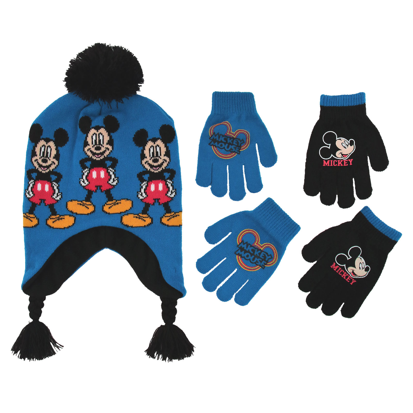 Disney Little Boys Mickey Mouse Hat and 2 Pair Gloves/Mittens Cold Weather Accessory Set