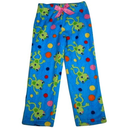 Girls Soft Plush Soft Microfiber Fleece Whimsical Print Sleep Lounge Pajama Pant, 35889 Blue Frogs / (Fleece Girls Sleep Pant)