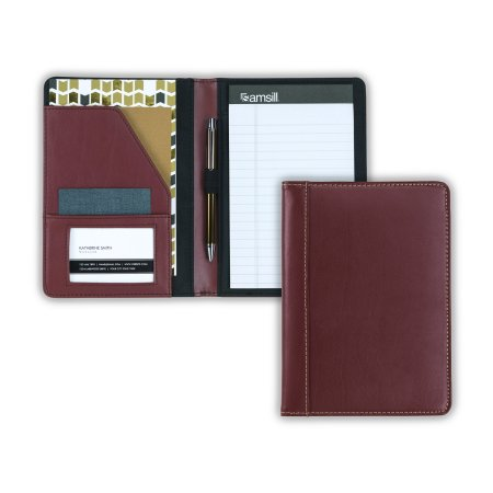 Samsill Contrast Stitch Leather Junior Padfolio – Lightweight & Stylish Business Portfolio for Men & Women – Resume Portfolio, 5 x 8 Writing Pad, (Contrast Padfolio)