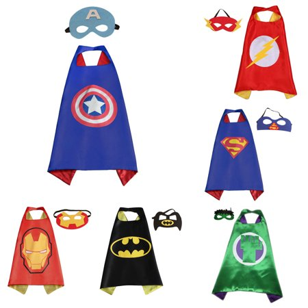 6 Set Superhero  Costumes - Capes and Masks with Gift Box by Superheroes - Funny Superheroes Costumes