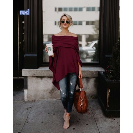 Off Shoulder Long Sleeve Top (Fashion Top for Women Long Sleeve Off Shoulder Pullover Casual Loose Shirt Elegant Blouse)