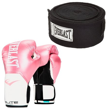 Everlast Elite Pro Style Pink 12 Ounce Boxing Gloves & 120 Inch Black Hand - Pink Boxing Gloves