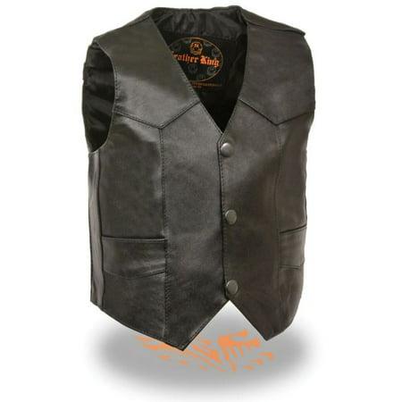 Milwaukee Leather Kids Basic Three Snap Vest Black