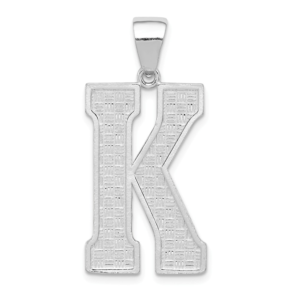 Sterling Silver Initial K Charm (1.4in long x 0.6in wide)