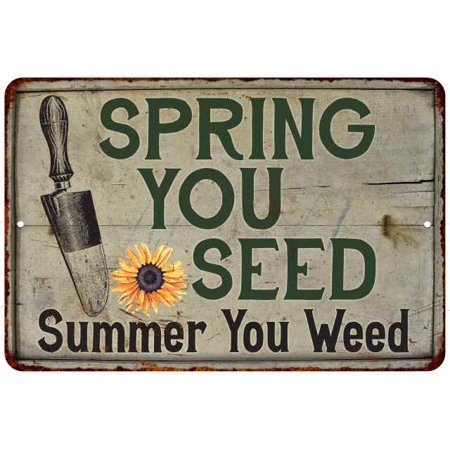 Spring You Seed Vintage Look Garden Chic 8x12 Metal Sign G8120020044 ()