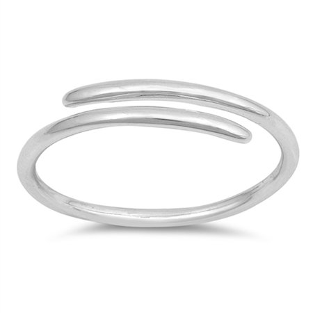 Thin High Polish Criss Cross Open Bar Ring ( Sizes 2 3 4 5 6 7 8 9 10 ) .925 Sterling Silver Band Rings by Sac Silver (Size 4)