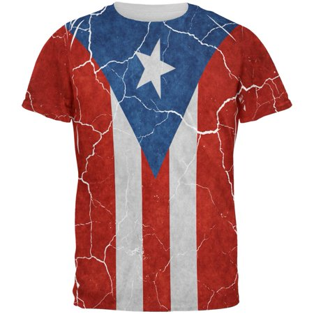 Distressed Puerto Rican Flag All Over Mens T