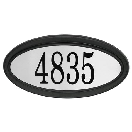 Contemporary Oval Address Plaque, Black / Stainless Steel Concord Oval Address Plaque