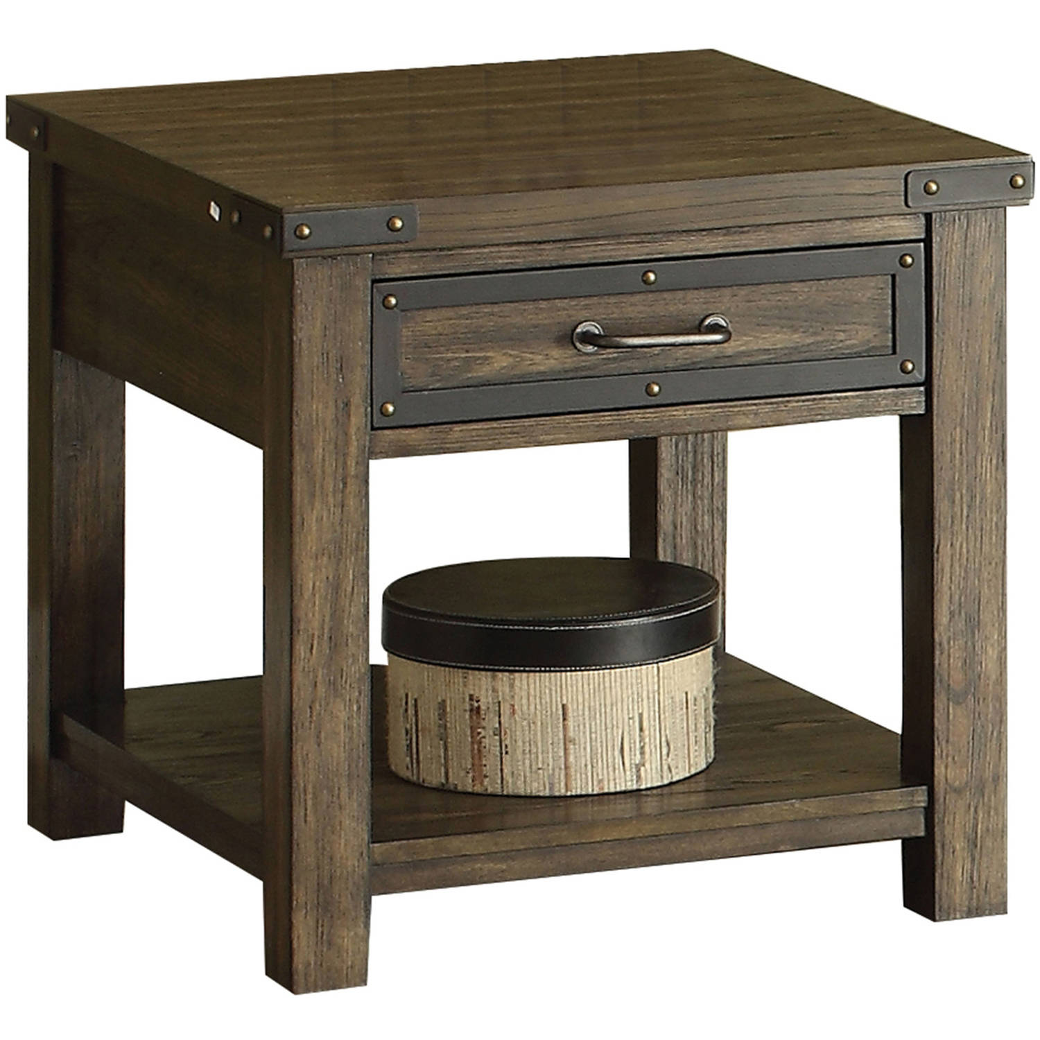 ACME Kailas End Table with Drawer, Weathered Dark Oak