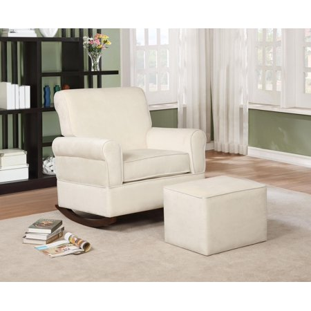 Naomi Home Georgia Rocker and Ottoman Set-Color:Cream,Fabric:Microfiber