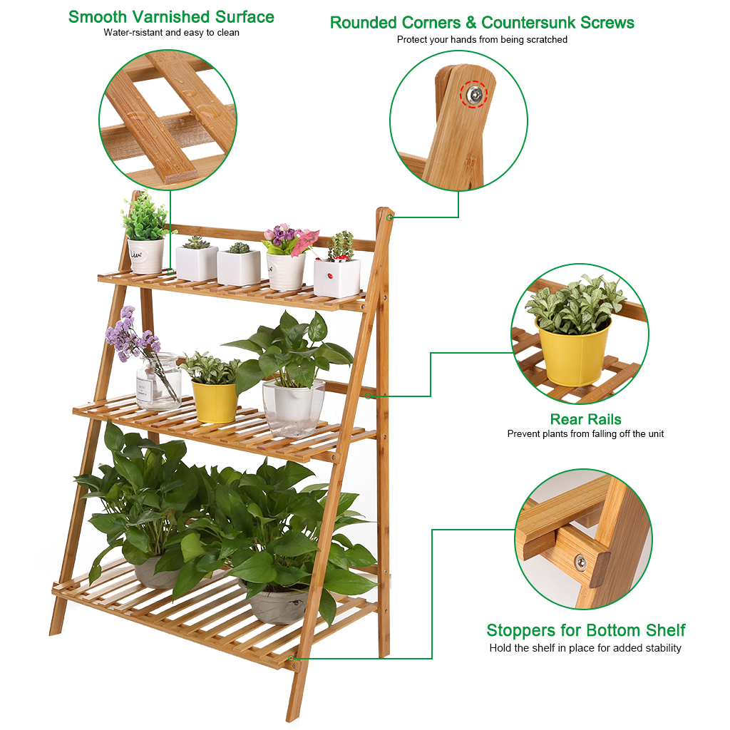 Natural Bamboo Plant Display Stand, Solid Wood Potted Flower Storage Rack with 9 Shelves, 5 Tier