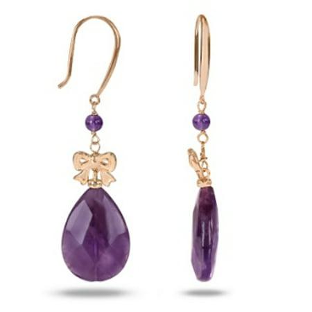 45 Carat T.G.W. Amethyst Pink Rhodium-Plated Sterling Silver Dangle Earrings