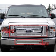 Compatible with 2008-2014 Ford Econoline Van E-Series Stainless Steel Mesh Grille Grill Combo F71018T
